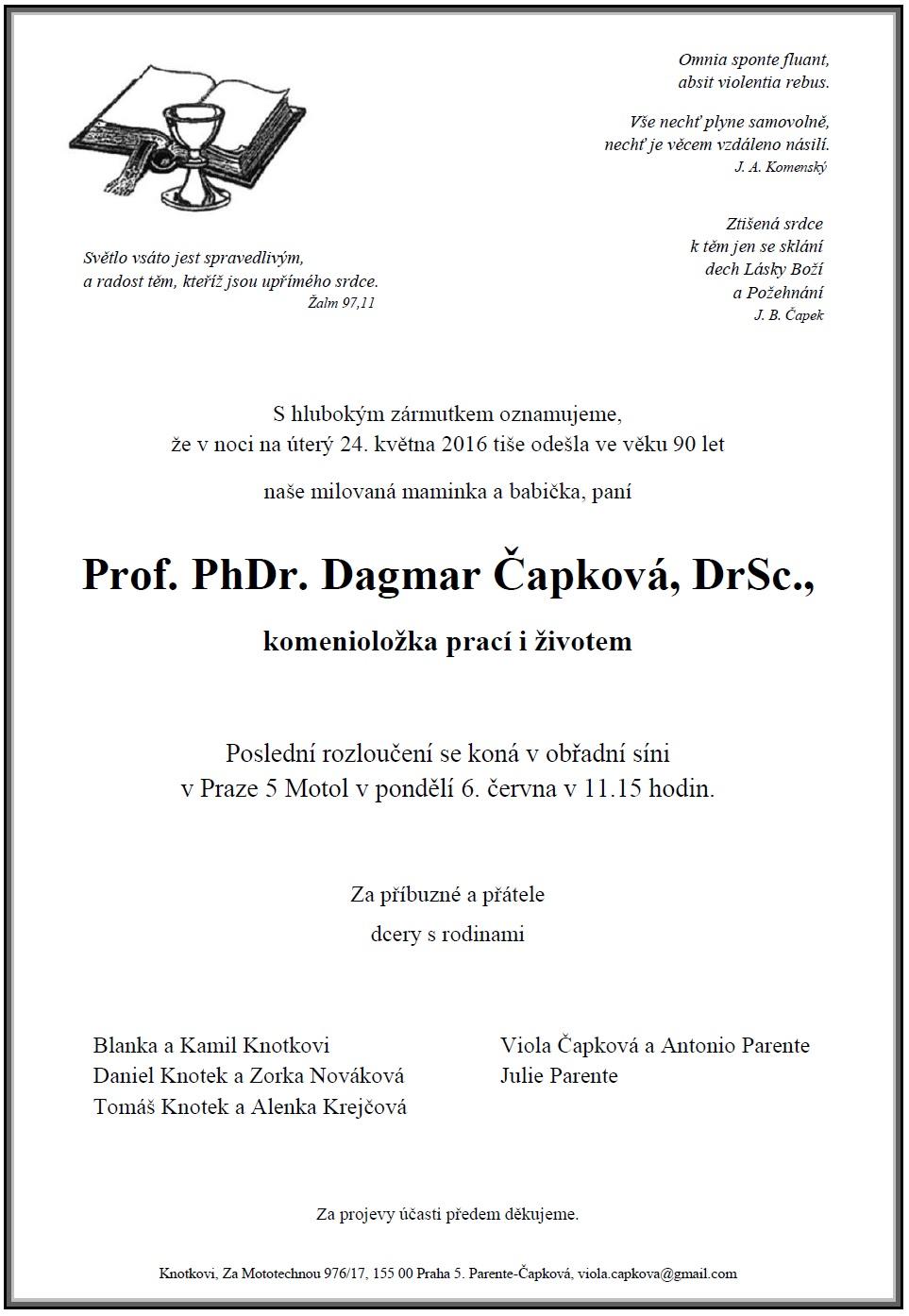 Funeral card of D. Čapková
