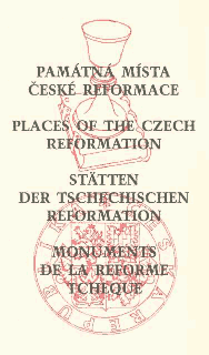 Front page of the book: Památná místa české reformace Places of the Czech Reformation Stätten der tschechischen reformation Monuments de la reforme tcheque